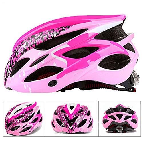 MXYMC - Casco para bicicleta de montaña con luz para mujeres y hombres, casco de bicicleta con Light Mountain Bike Road MTB Integral, color rosa, tamaño M / L (56-60CM)