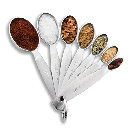 Spring Chef Measuring Spoons Heavy Duty Oval Stainless Steel Metal for Dry or Liquid  Fits in Spice Jar Set of 7