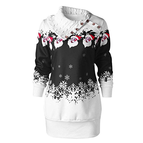 KEERADS Weihnachtspullover Damen Weihnachten Pullover Langarmshirt Sweatshirt (38, Schwarz)