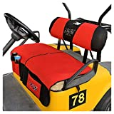 10L0L Newest Golf Cart Seat Cover Seat Blanket with Storage Pocket fit Club Car DS & EZGO TXT RXV, Washable Polyester Mesh Bench Seat Blanket + Back-up Cover, Multi Function