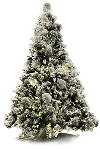 Red Co. 7.5 Foot Premium - Flocked Snowy Artificial Christmas Tree - 600 UL Warm White LED Lights with Metal Stand