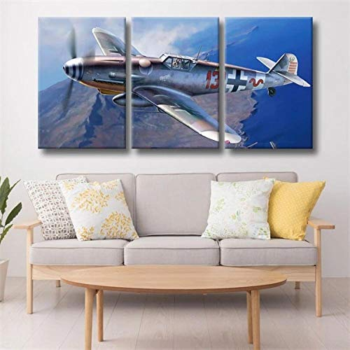 DDSDA Aviones Militares Mercer Schmidt Bf-109 3 Panels Canvas Wall Art Painting Prints Abstract Pictures Prints Modern Artwork -50x70cmx3/Con Marco