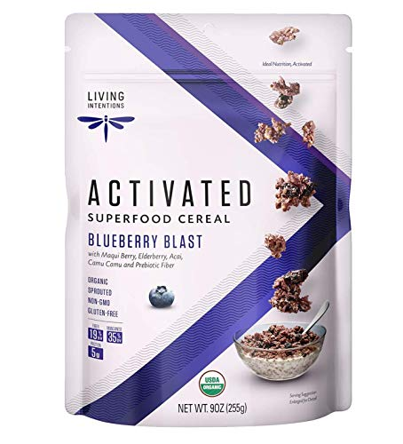 Living Intentions Organic Superfood Cereal – Blueberry Blast – NonGMO – Gluten Free – Vegan Paleo – Kosher – 9 Ounce Unit