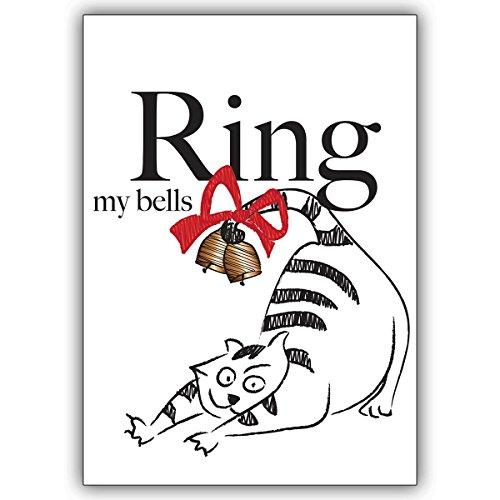 Wenskaarten met hoeveelheidskorting: komische kerstkaart met vette kat en bel: Ring my bells • als kerstwenskaart met envelop voor de overgang van het jaar voor familie en bedrijf 16 Grußkarten