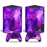 ZXJ Para Xbox One S Slim Skin, Calcomanía protectora de vinilo para consola de juegos para Xbox Series X Controller, morado