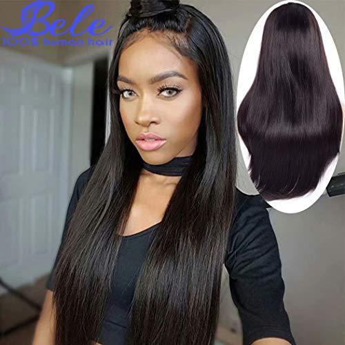 Bele 10A soyeux cheveux raides avant de lacet perruque 180% densité pré-pincée brésilienne dentelle frontale perruques de cheveux vierges humaines pour les femmes noires 18 pouces