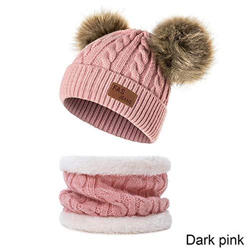 Nuevo Sombrero de bebé Traje de Bufanda Otoño Invierno Tejido para niños Conjunto de Bufanda de algodón para niñas y niños Sombreros Cuello Bufanda para niños-Dark Pink 1