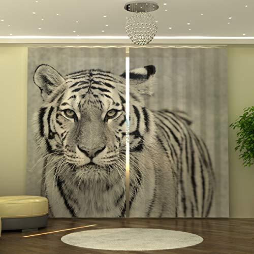 Wellmira Fotogardine - Tenda con Stampa Tigre Bianca, 245 x 290 cm, pronta da Appendere, Motivo: Foto