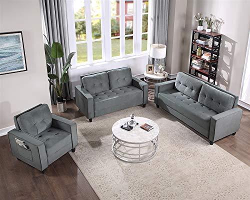 LZZJ Geschnittenes Sofa-Set für Wohn- oder Büro Gepolsterte Sessel Sessel Morden-Stil Couchmöbel Liebessitz und Dreiersitz (Lieferung innerhalb von 7 Tagen) (Color : 1+2+3 seat)