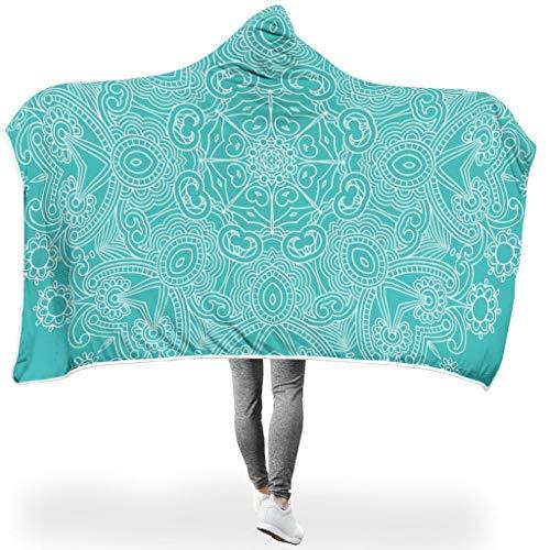 Lind88 Fledermaus-Decke, hellseegrünes Mandala-Muster, Premium-Komfort, Überwurf, Decken, Textur, groß für Erwachsene/Damen/Herren, Fleece, weiß, 50x60 inch