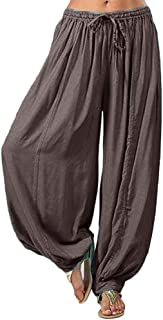 Women Plus Size Solid Color Pants, Casual Breathable Loose Harem Cotton Pants Trousers for Sports Yoga, Ladies Daily Clothes
