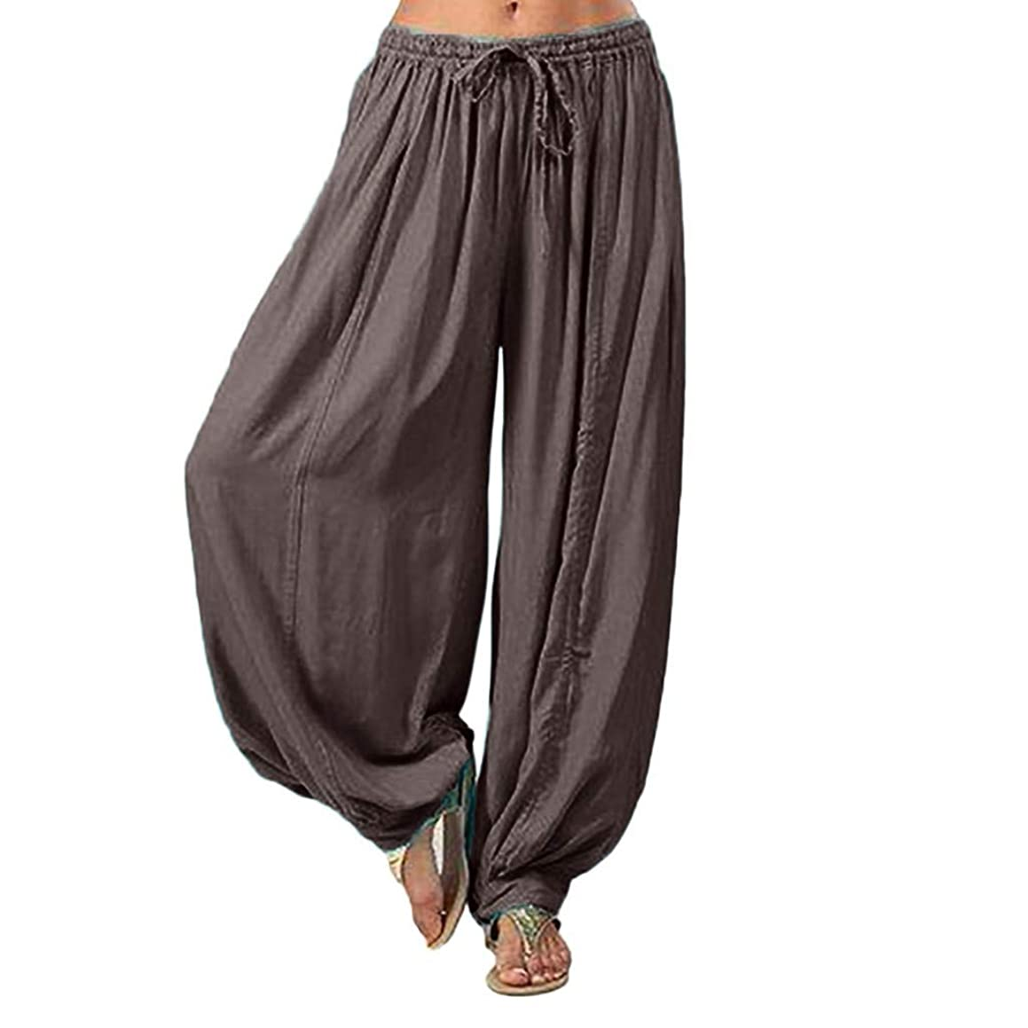 Duseedik Women's Harem Pants Plus Size Solid Color Loose Yoga Pants Pleated Cotton Trouser