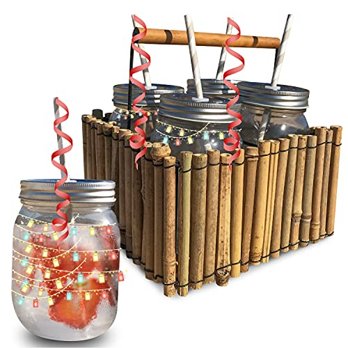 Set 4 vasos para cocteles con tapa incluye la cesta de bambú. Copas cocktail originales, vasos mojitos originales para sorprender a sus mejores amigos.
