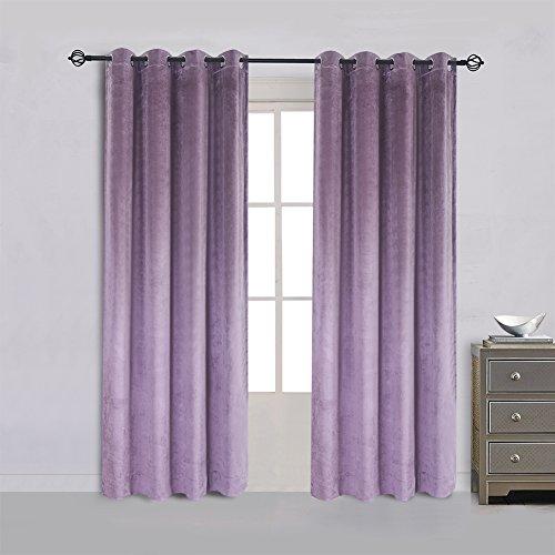 Cherry Home 52-Inch-by-84-Inch Velvet Blackout Grommet Curtain Panel, Lavender