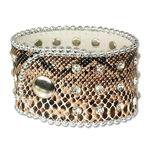 SilberDream LAP229B - Pulsera de piel de serpiente con piedras de metal depositado, cierre a presión, apta para la circunferencia del brazo de 20,5 cm