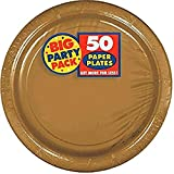 amscan Big Party Pack Gold Paper Plates | 7' | Pack of 50