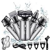 Maquina de Afeitar 5D, Afeitadora Barba Hombre 5 en 1, Afeitadora Electrica Hombre Recargable, Maquinilla de Afeitar para Barba, Nariz, Orejas y Limpieza Facial