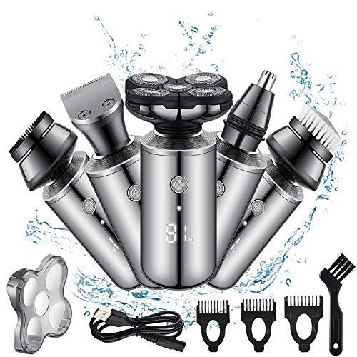 Rasierer Herren Elektrisch 5D, Elektrischer Rasierer Herren 5-in-1 Glatze für Haar Bart Nase Ohren, Rasierapparat Herren Wasserdichter Nass und Trocken