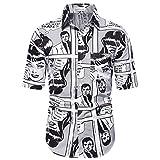 Camisa Impresa para Hombres, Camiseta de Manga Corta de la Moda Camisetas Camisas Hipster, Citas al Aire Libre,Blanco,L