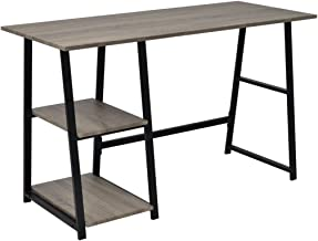 Festnight Computer Desk with 2 Shelves Living Room Furniture Grey 120 x 50 x 73 cm