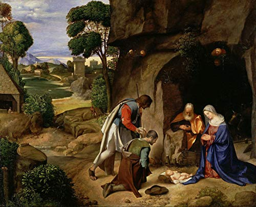 "Giorgione Adoration of The Shepherds 1510 National Gallery of Art - Washington DC 30"" x 24"" Fine Art Giclee Canvas Print (Unframed) Reproduction"