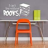 Non posso fare a meno dei libri! Adesivo murale ispirazione soggiorno adesivo da parete in vinile studio camera da letto decorazione arte wall sticker28x57cm