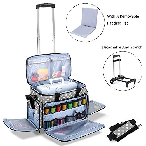 Why Should You Buy Luxja Sewing Machine Case with Detachable Trolley Dolly, Rolling Sewing Machine T...