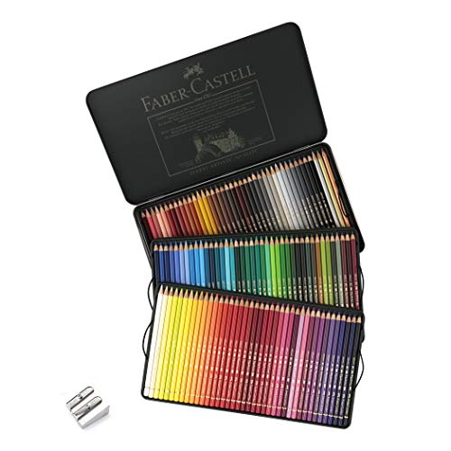 Faber-Castell Polychromos Artist Colored Pencils Set - Premium Quality Polychromos Colored Pencils 120 Tin Gift Set Includes Pencil Sharpener