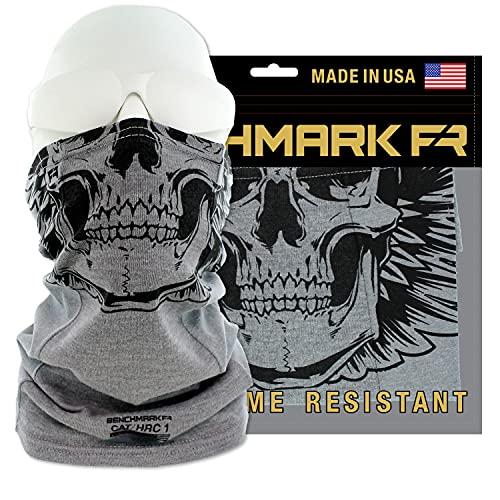 BENCHMARK FR Skully Flame Resistant Face Mask Neck Gaiter, One Size, Light Gray