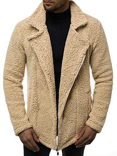 OZONEE Herren Übergangsjacke Jacke Mantel Plüschjacke Teddy-Fleece Pelzjacke Fleecejacke Fleecepullover Fleecemantel MACH/3118 BEIGE M