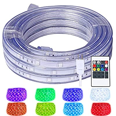 areful 16.4ft LED Rope Lights, Color Changing Strip Lights with Remote, Flat Flexible Connectable and Dimmable, Waterproof for Indoor/Outdoor Use, 8 Colors and 6 Modes