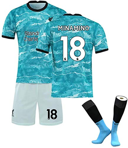 Liverpool FC Training Jersey Liverpool Jerseys FC 2020-21 Away Jersey Summer Loose Breathable Football for Fans,Liverpool Away Parent-Child Set,Minamino 18,M