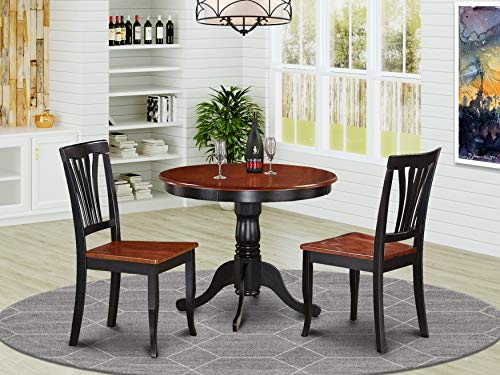 East-West Furniture ANAV3-BLK-W Modern Dining Table Set- 2 Amazing Wooden Dining Chairs - A Gorgeous Dining Table- Wooden Seat - Cherry and Black Dining Table
