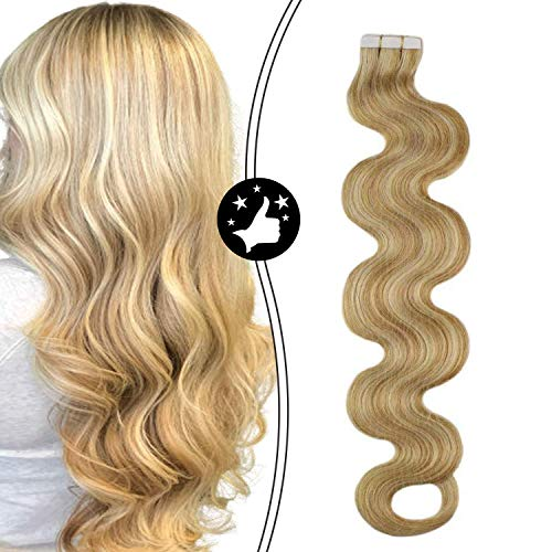 Moresoo 24 Pouces Skin Weft Hair Extensions Body Wave 100% Remy Human Tape in Hair 20pcs/50g #12 Honey Blonde Mixed with #613 Glue in Real Hair Extens