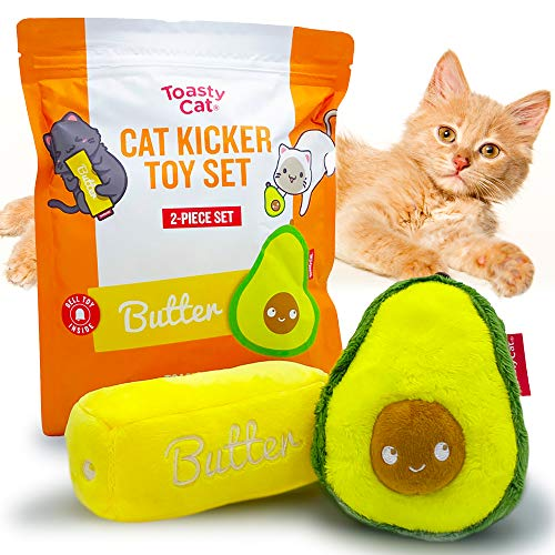 TOASTYCAT Plush Cat Toys Kickers - Large Double Set - Avocado & Butter Stick with Teaser Rattle Toy Inside - Provides Interactive Indoor Cat Fun and Cute Happy Bunny Kicking
