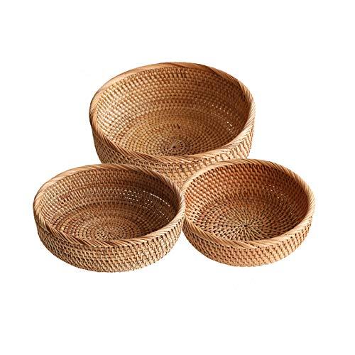 jinyi2016SHOP Frutero Rattan Redonda Fruit Bowl Creative Encimitop Cesta Centro de Mesa Decorativo para Frutas Pan Vegetal, Dulces y Otros artículos para el hogar (Conjunto de 3) Cestas para Frutas