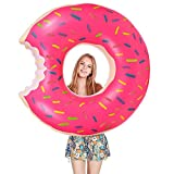 Migimi Donut Schwimmring, Schwimmring 120cm Floating-Ring Riesen Donut Aufblasbar Ring Luftmatratze Reifen Schwimmreifen für Erwachsene und Kinder, Aufblasbarer Luftmatratzen für Party,...
