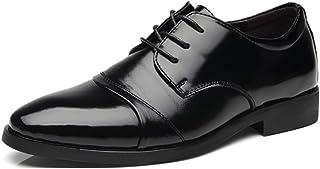 [モリケイ] ビジネスシューズ メンズ 紳士靴 ストレートチップ レースアップ ドレスシューズ 内羽根 革靴 レザー 通気性 柔らかい 快適 かっこいいポインテッド ロングノーズ 春夏 男性靴 就活 結婚式 黒ブラック/ブラワン