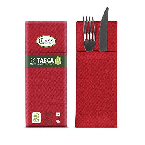 CLASS 10 C4032TA-110-PEFC Airlaid Serviette für Besteck, Papier, Rot, 40 x 32 x 0.8 cm, 20 Stück