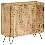 Festnight- Holz Sideboard Kommode Beistellschrank   Massives Mangoholz   Schrank mit viel Stauraum für Esszimmer Küche Wohnzimmer Schlafzimmer 80 x 30 x 75 cm