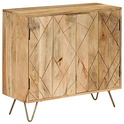 Festnight- Holz Sideboard Kommode Beistellschrank | Massives Mangoholz | Schrank mit viel Stauraum für Esszimmer Küche Wohnzimmer Schlafzimmer 80 x 30 x 75 cm