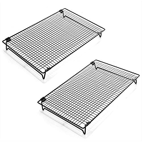 Kingrol 2-Piece Cooling Rack with Collapsible Folding Legs - for Cooking, Roasting, Drying, Grilling (Black)