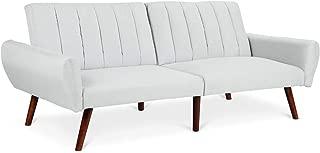 Giantex Futon Sofa Bed Folding Couch Convertible Mattress Premium Linen Upholstery and Wooden Legs (Gray)
