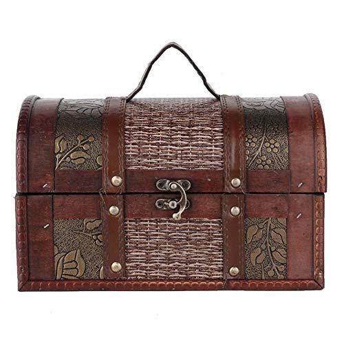 Caja de almacenamiento de madera estilo europeo vintage organizador de joyas para el hogar, tienda, bar, caja de almacenamiento de joyas (# 2)