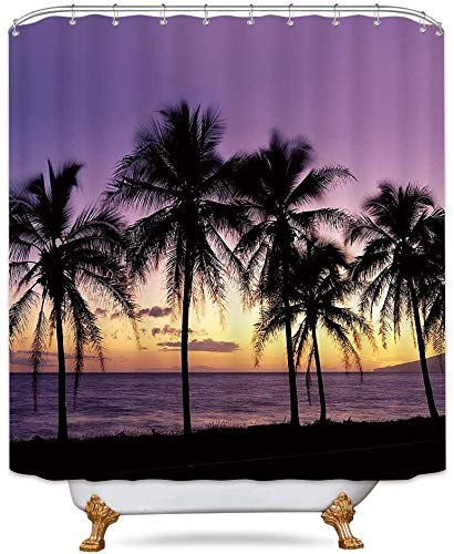 Riyidecor Tropical Purple Ocean Shower Curtain Sunset Beach Palm Tree Landscape Medallion Floral Decor Fabric Set Polyester Waterproof 72x72 Inch 12 Pack Plastic  Hooks