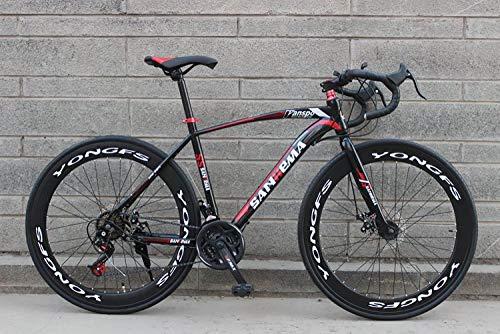 LIKEJJ Vélo de Route Adulte, vélo de Course pour Hommes avec Frein à Disque Double, vélo de...