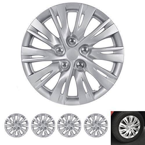 """BDK Wheel Guards – (4 Pack) Hubcaps for Car Accessories Wheel Covers Snap Clip-On Auto Tire Rim Replacement for 16 inch Wheels 16"""" Hub Caps (Thin Dual Spokes)"""