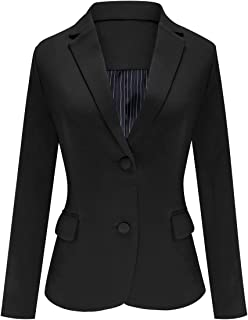Women's Casual Work Office Notch Lapel Pocket Buttons Blazer Suit Jacket