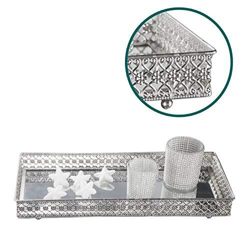 DRULINE Spiegeltablett Kerzentablett aus Metall und Spiegelglas in Silber 5 cm x 40 cm x 18 cm