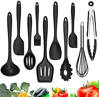 Black silicone spatula,cooking tools, 10 pieces, spatulas, Heat resistant kitchen gadget, Baking Utensils set, None stick turner, Pancake flipper, Scratch protection scraper,mini& flat spatula.